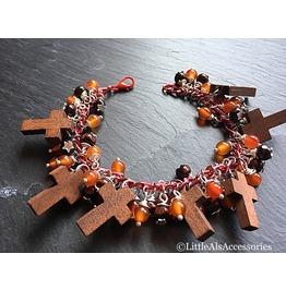 Wooden Charm Bracelet, Carnelian & Wood Bracelet, Chunky Gemstone Bracelet