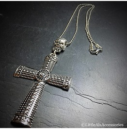 Large Silver Cross Pendant, Mens Gothic Necklace, Cross Necklace, Gifts