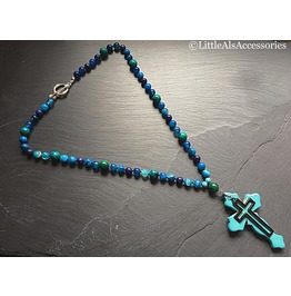 Blue Beaded Cross Necklace, Chrysocolla Necklace, Gothic Cross Necklace,