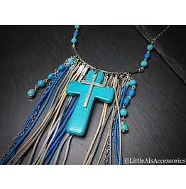 Turquoise Cross Pendant, Gothic Tassel Necklace, Gothic Jewelry, Boho Gifts