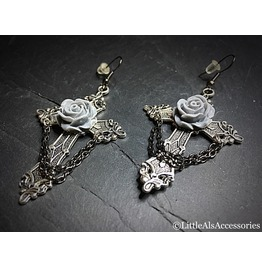Silver Cross Earrings, Large Cross Earrings With Roses, Gothic Jewelry