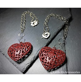 Puffy Heart Necklace, Gothic Heart Pendant, Metal Heart, Gothic Jewelry