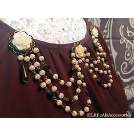 Gothic Pearl Detachable Dress Clip, Vintage Pearl Drape, Gothic Victoriana