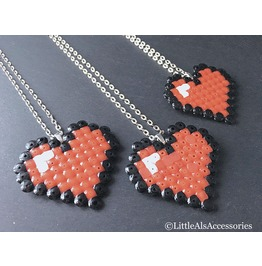 Heart Necklace, Pixel Heart Pendant, Cartoon Jewelry, Kawaii Necklace