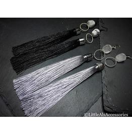 Skull Tassell Earrings, Semi Precious, Tassel Earrings, Gothic Earrings
