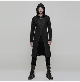 Black Vintage Gothic Hooded Sweater For Men Wy 876