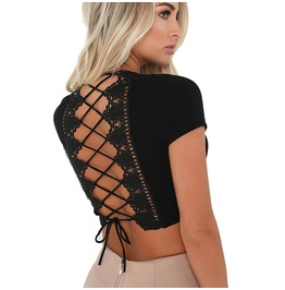 Sexy Crop Tops V Neck Deep Lace Up Back Short Sleeve Bandage Free Top Shirt