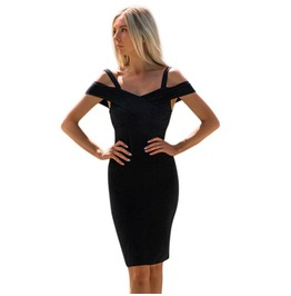 Women Sexy Dress Bodycon Dress Solid Open Shoulder Knee Length