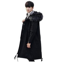 Men Fake Fur Collar Cotton Warm Quilted Thick Jacket
