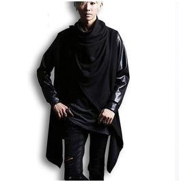 Men's Black Leather Jacket Splicing Long Sleeve Cardigan Coat Man Punk Rock