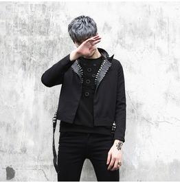 Punk Gothic Men Rivet Bin Fashion Slim Fit Jacket Short Motorcycle Jacket