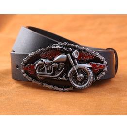 Motorcycle Buckle Genuine Leather Men Belt