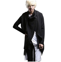 Men's Long Sleeve Cardigan T Shirt Fashion Casual Irregular Scarf