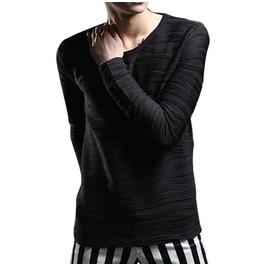 Punk O Neck Elastic Slim Long Sleeve Men T Shirt