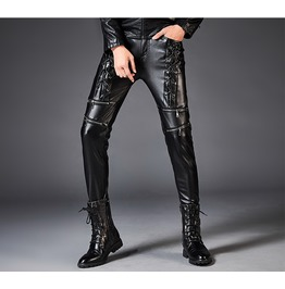 Dark Forest Autumn Winter Slim Fit Imitation Leather Mens Pencil Pants