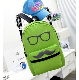 Cartoon Mustache Green Canvas Backpack Bag