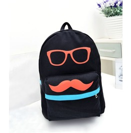 Cartoon Black Mustache Canvas Backpack Bag