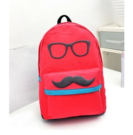 Cartoon Mustache Red Green Canvas Backpack Bag