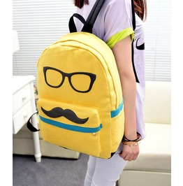 Cartoon Mustache Yellow Canvas Backpack Bag