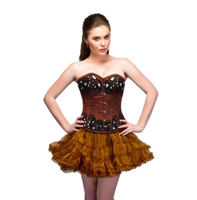Plus Size Brown Satin Sequins Top Tutu Skirt Overbust Corset