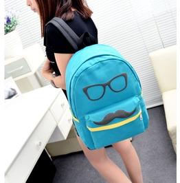 Cartoon Mustache Blue Canvas Backpack Bag