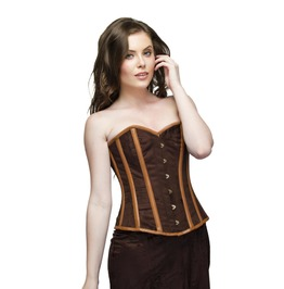Plus Size Brown Velvet Leather Overbust Top & Long Skirt Corset Prom Dress
