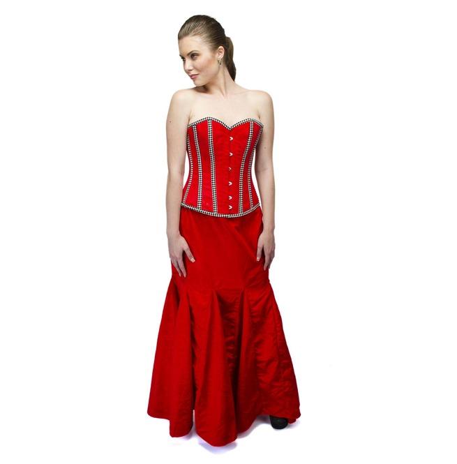 Plus Size Red Velvet Check Stripe Overbust Top Long Skirt Corset Prom