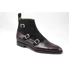 e7c3c9dfdfd Handmade Mens Brown Triple Monk Ankle Boots, Men Suede And Leather Boots