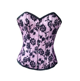 Plus Size Pink Satin Black Tissue Flocking Burlesque Overbust Corset Top