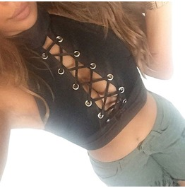 2018 Summer Style Women Ladies Sexy Bandage Crop Tops Round Neck Sleeveless