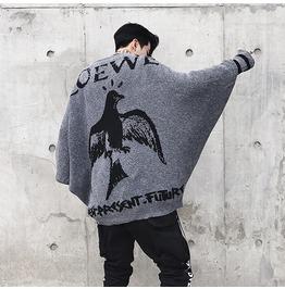 Autumn Winter Loose Bat Sleeve Bird Design Extra Large Mens Sweater