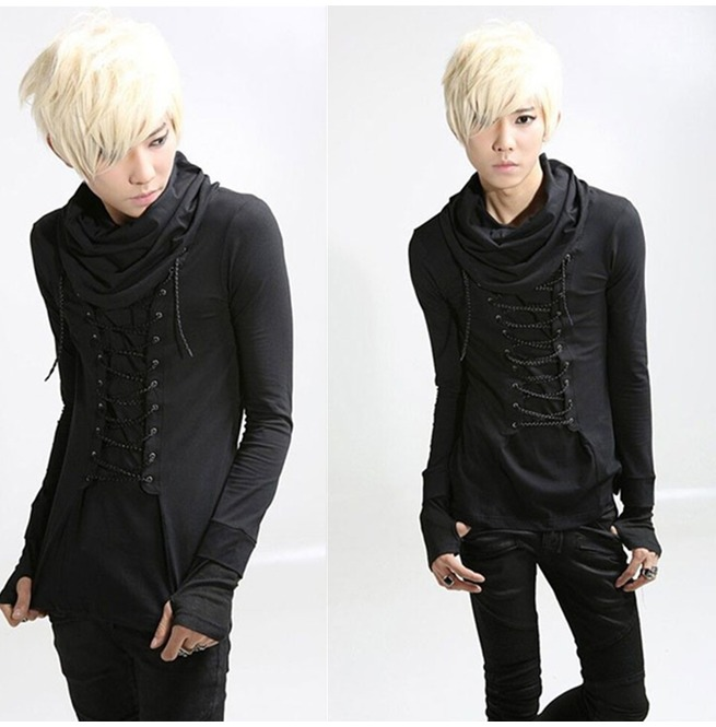 Dark Forest Long Sleeve Gloves Turtleneck Lace Up Punk Goth Men Shirt