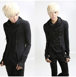 Long Sleeve Gloves Turtleneck Lace Up Punk Goth Men Shirt
