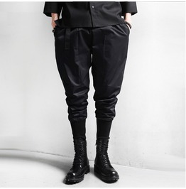 Spring Autumn Black Punk Goth Elastic Waist Men Harem Pants
