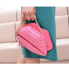 Lovely Pink Lips Rivets Handbag Bag Messenger Bag