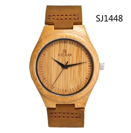 Unisex's Bamboo Wooden Watch With Brown Cowhide Leather Strap Casual Watch