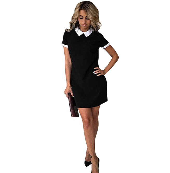 7910a2a40d60 Trendy Women's Turn Down Collar Bodycon Mini Dress | RebelsMarket