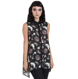 Goth Alternative Grunge Blouse Top Pattern With Vintage Retro Cats Moon Sun