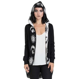 Gothic Hood Cardigan Jacket Occult Moon Sun Skulls Symbols Alternative Punk