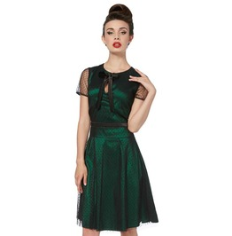 Vintage Rockabilly Pinup Green Lace Overlay Cute Knee High Dress