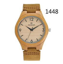 Unisex's Natural Wood Watches Bamboo Wooden Genuine Leather Strap Watch