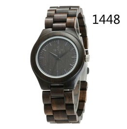 Unisex's Ebony Wooden Watch Analog Quartz Light Weight Vintage Wrist Watch