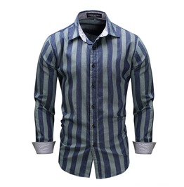 Rebelsmarket mens contrast stripe printed slim fitted shirt shirts 6