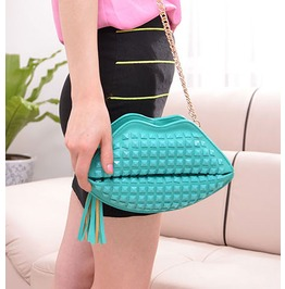 Lovely Blue Lips Rivets Handbag Bag Messenger Bag