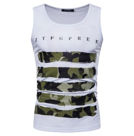 Men's Camouflage Printed Slim Fitted Sleeveless T Shirt Vest
