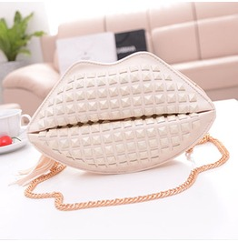 Lovely White Lips Rivets Handbag Bag Messenger Bag