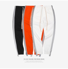 Men's Side Contrast Stripe Sports Pants Drawstring Joggers