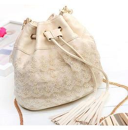 Elegant Beige Lace Tassel Handbag Messenger Bag