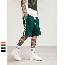 Men's Checkerboard Printed Contrast Drawstring Shorts