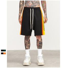 Men's Letter Printed Contrast Color Drawstring Shorts